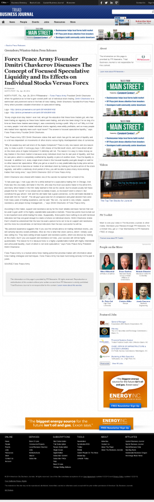Forex Peace Army - Business Journal of the Greater Triad Area- Stock Liquidity Discussion