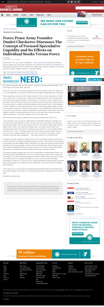 Forex Peace Army - Charlotte Business Journal- Stock Liquidity Discussion