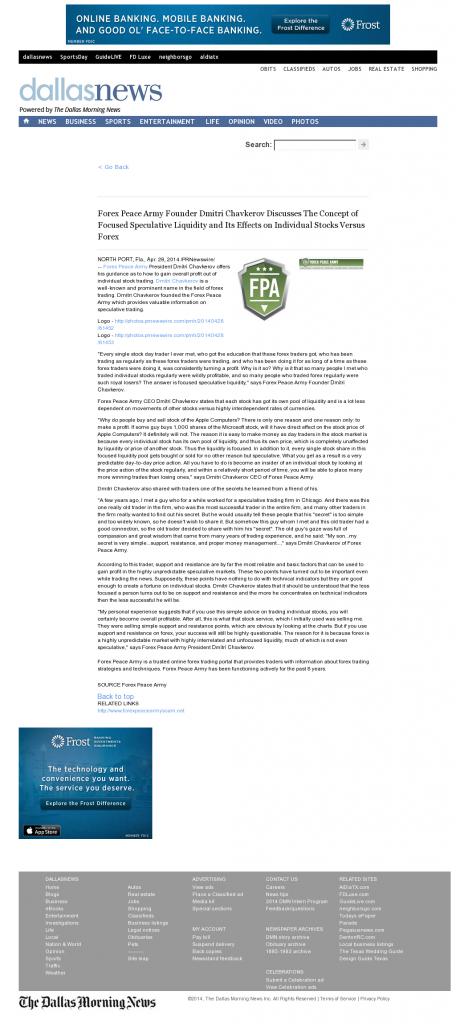Forex Peace Army - DallasNews.com- Stock Liquidity Discussion