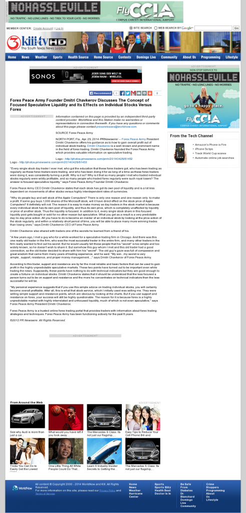 Forex Peace Army - KIII-TV ABC-3 (Corpus Christi, TX)- Stock Liquidity Discussion