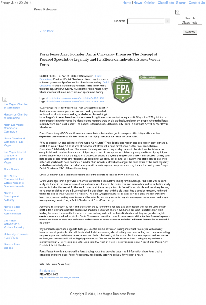 Forex Peace Army - Las Vegas Business Press- Stock Liquidity Discussion