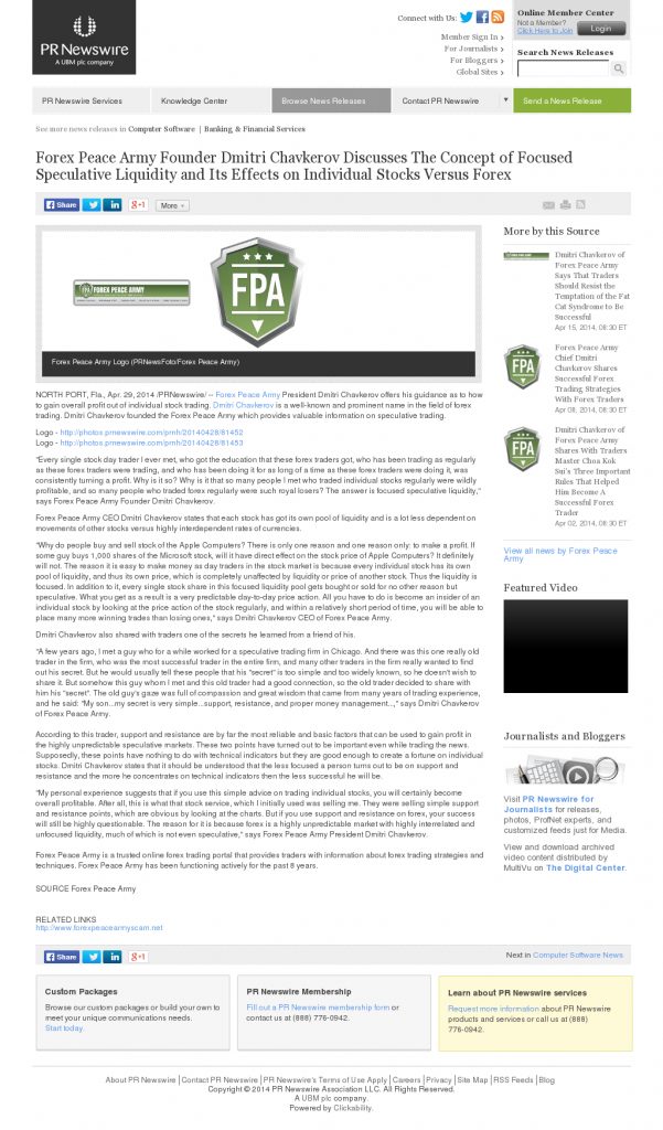 Forex Peace Army - PR Newswire- Stock Liquidity Discussion