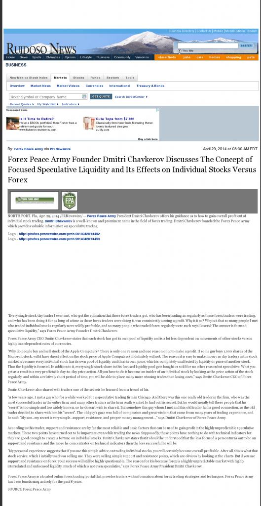 Forex Peace Army - Ruidoso News (Ruidoso, NM)- Stock Liquidity Discussion