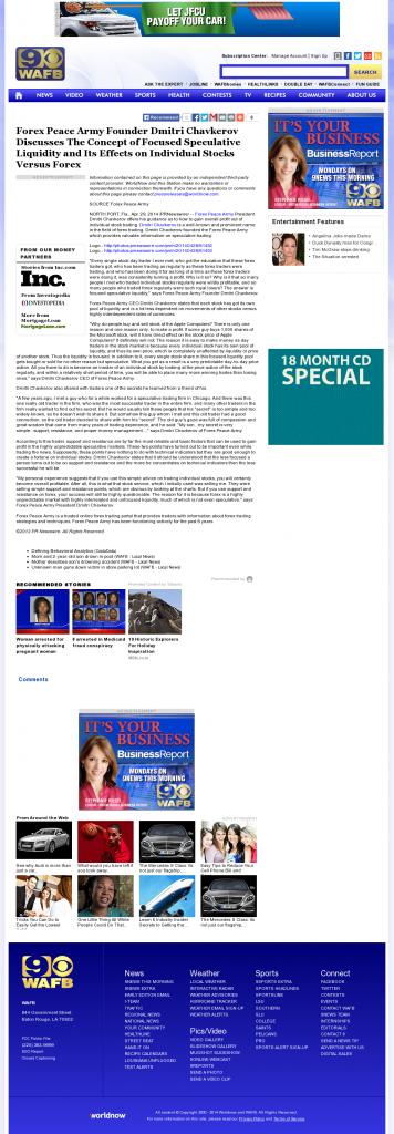 Forex Peace Army - WAFB CBS-9 (Baton Rouge, LA)- Stock Liquidity Discussion