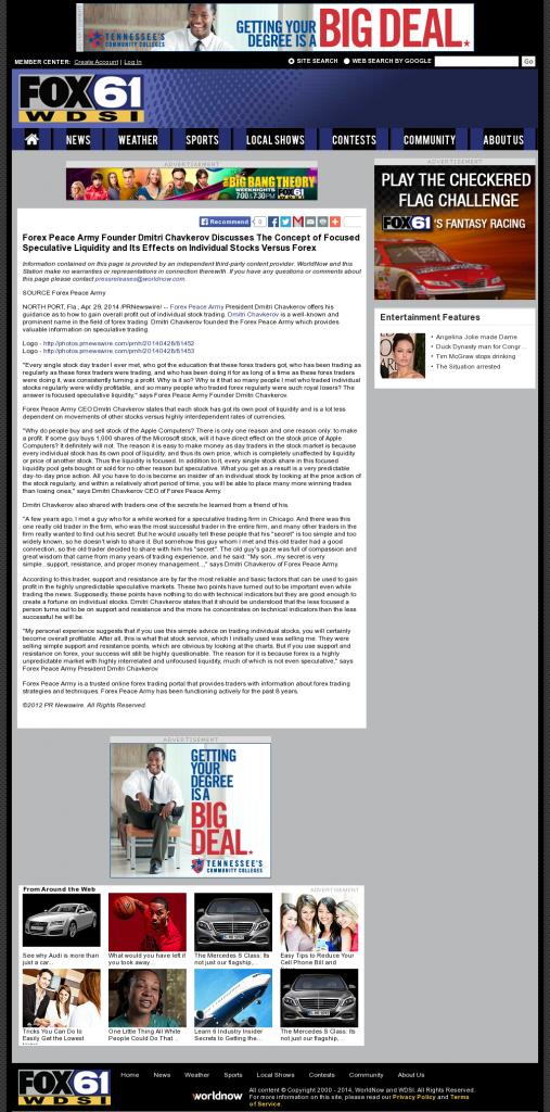 Forex Peace Army - WDSI-TV FOX-61 (Chattanooga, TN)- Stock Liquidity Discussion