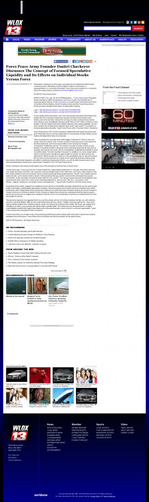 Forex Peace Army - WLOX ABC-13 (Biloxi, MS)- Stock Liquidity Discussion
