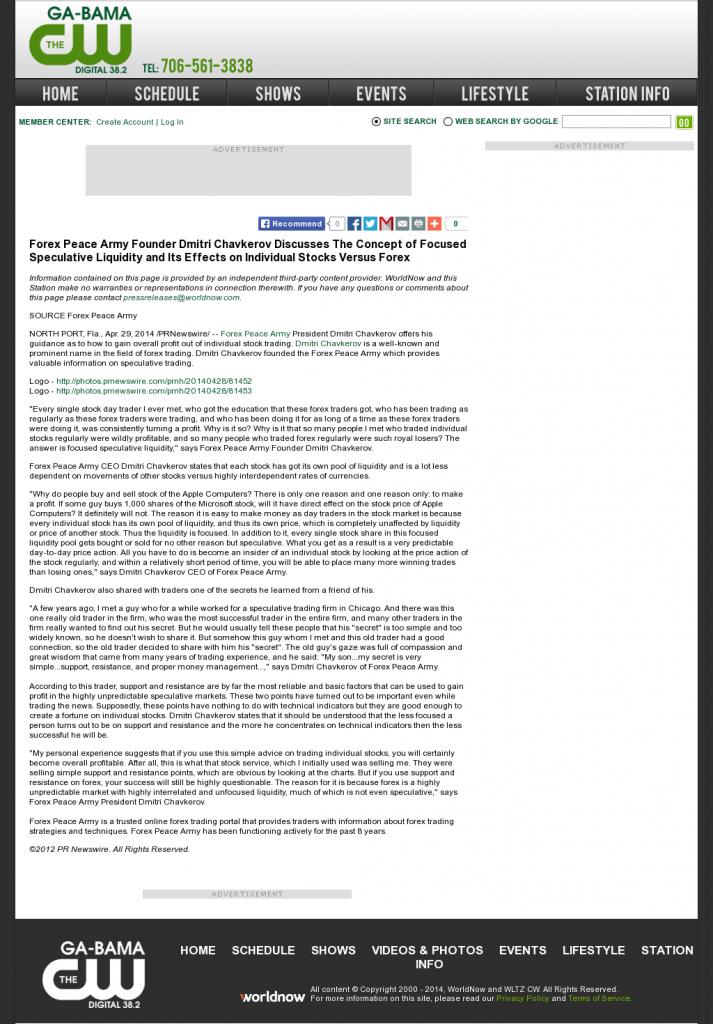 Forex Peace Army - WLTZ-TV CW-38 (Columbus, GA)- Stock Liquidity Discussion