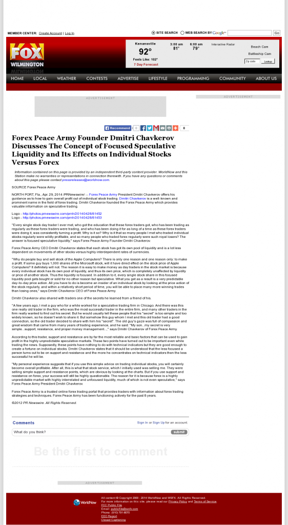 Forex Peace Army - WSFX-TV FOX-26 (Wilmington, NC)- Stock Liquidity Discussion
