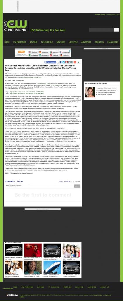 Forex Peace Army - WUPV-TV CW-65 (Ashland, VA)- Stock Liquidity Discussion