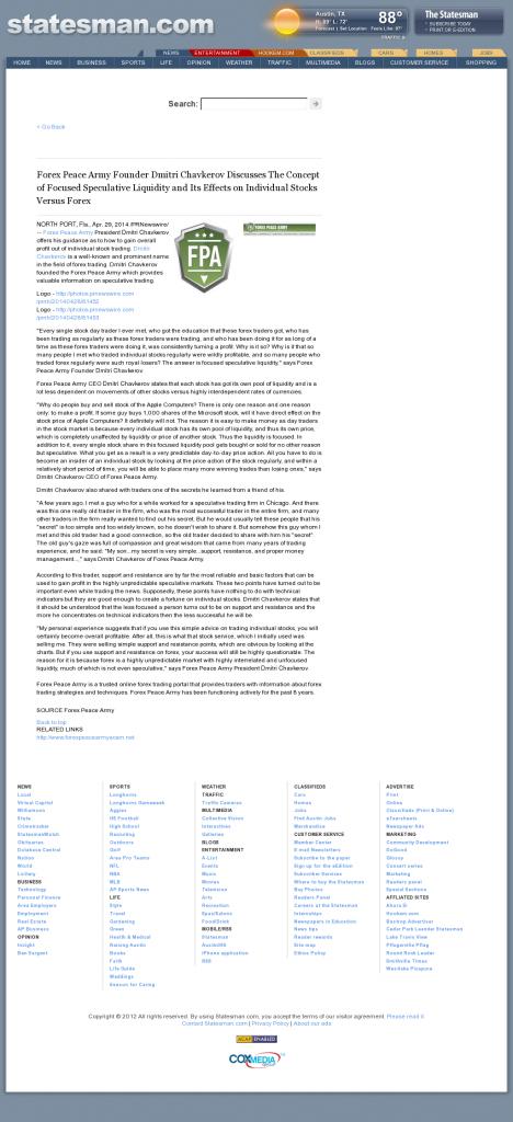Forex Peace Army - Austin American-Statesman (Austin, TX)- Stock Liquidity Discussion