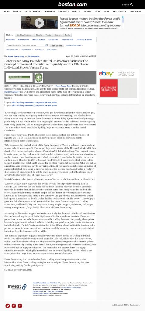 Forex Peace Army - Boston Globe- Stock Liquidity Discussion
