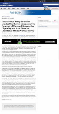 Forex Peace Army -  Business Journal of Greater Milwaukee - Stock Liquidity Discussion