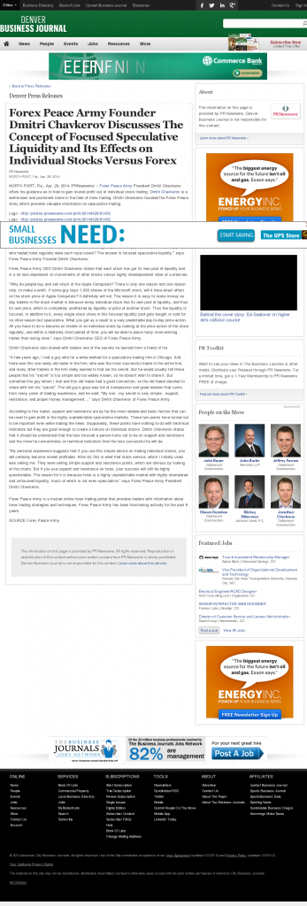 Forex Peace Army - Denver Business Journal- Stock Liquidity Discussion