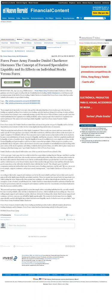 Forex Peace Army - El Nuevo Herald (Miami, FL)- Stock Liquidity Discussion