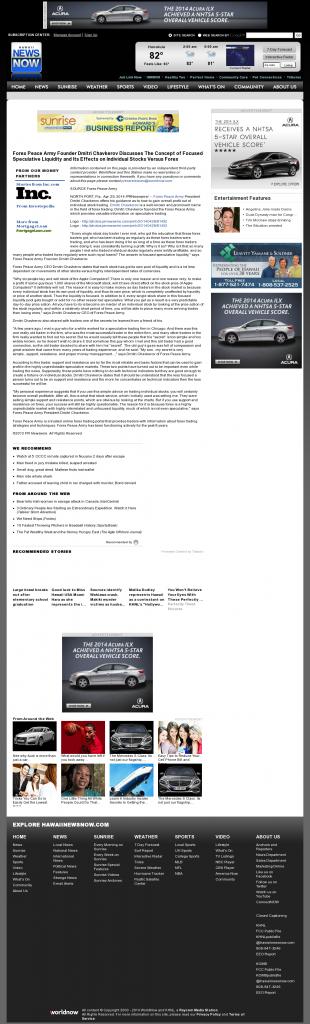 Forex Peace Army - KHNL-TV NBC-8 (Honolulu, HI)- Stock Liquidity Discussion