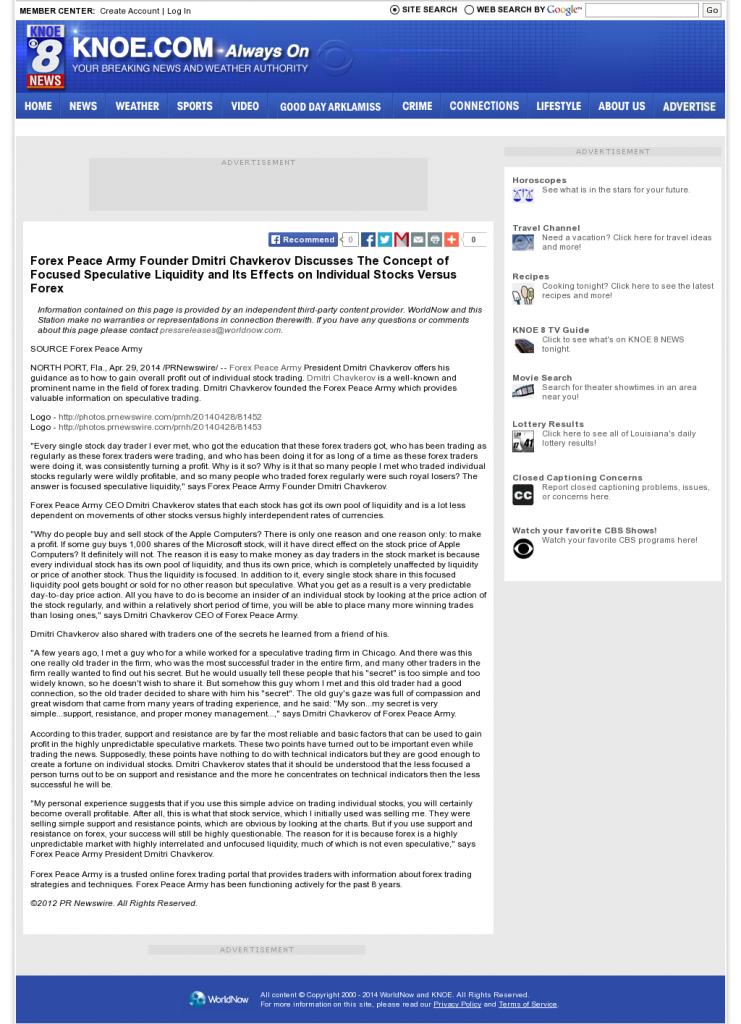 Forex Peace Army - KNOE-TV CBS-8 (Monroe, LA)- Stock Liquidity Discussion