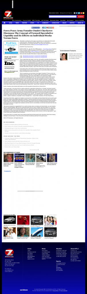 Forex Peace Army - KPLC NBC-7 (Lake Charles-Lafayette, LA)- Stock Liquidity Discussion