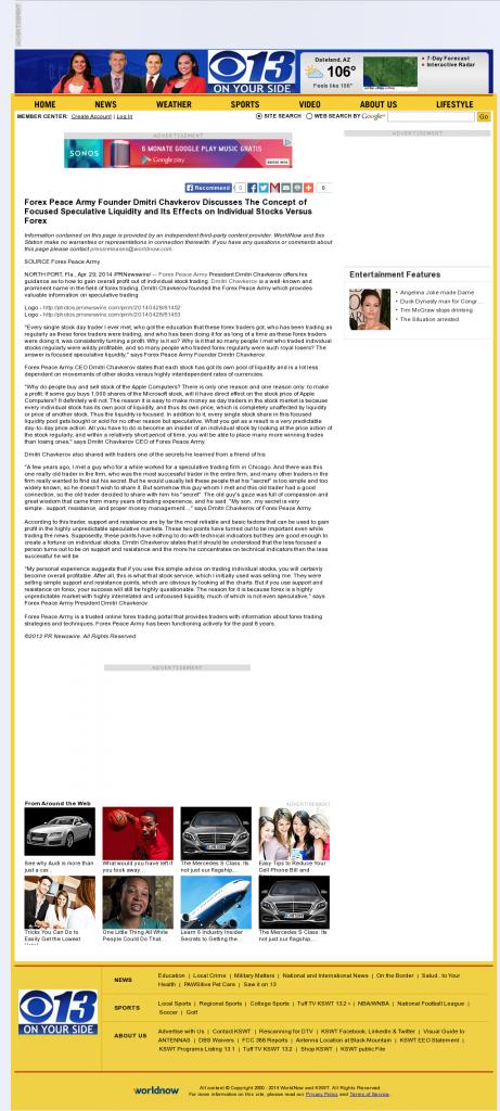 Forex Peace Army - KSWT-TV CBS-13 (Yuma, AZ)- Stock Liquidity Discussion