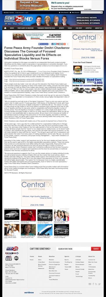 Forex Peace Army - KXXV-TV ABC-25 (Waco, TX)- Stock Liquidity Discussion
