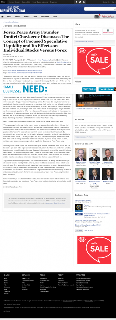 Forex Peace Army - New York Business Journal- Stock Liquidity Discussion