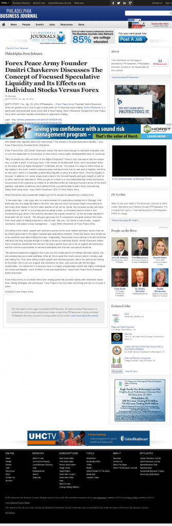 Forex Peace Army - Philadelphia Business Journal- Stock Liquidity Discussion
