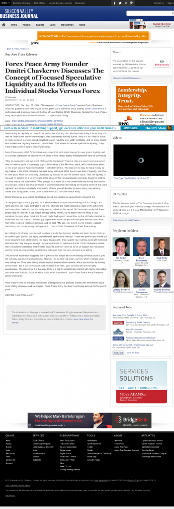 Forex Peace Army - San Jose Business Journal- Stock Liquidity Discussion