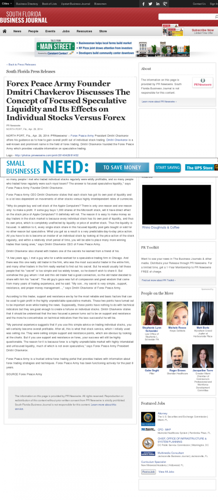 Forex Peace Army - South Florida Business Journal- Stock Liquidity Discussion