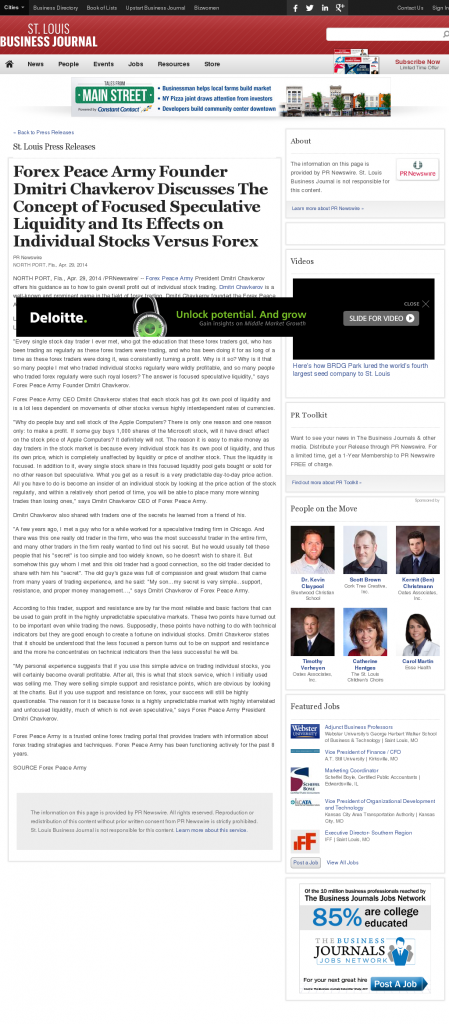 Forex Peace Army - St. Louis Business Journal- Stock Liquidity Discussion