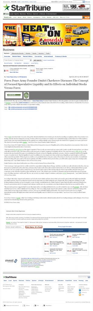 Forex Peace Army - Star Tribune (Minneapolis, MN)- Stock Liquidity Discussion