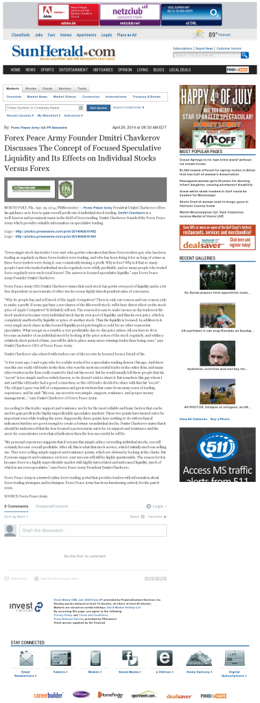 Forex Peace Army - Sun Herald (Biloxi, MS)- Stock Liquidity Discussion