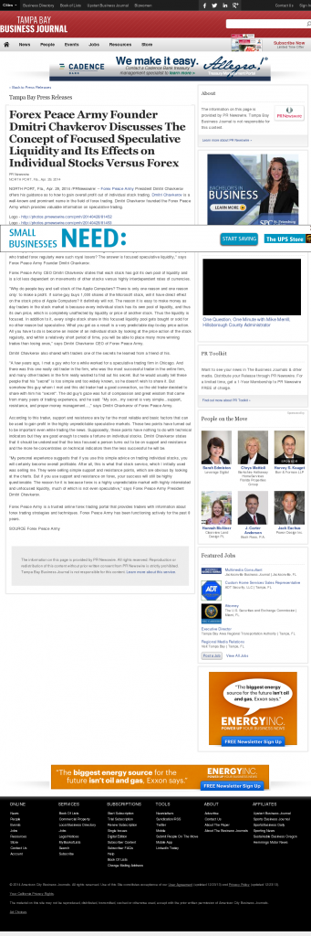 Forex Peace Army - Tampa Bay Business Journal- Stock Liquidity Discussion