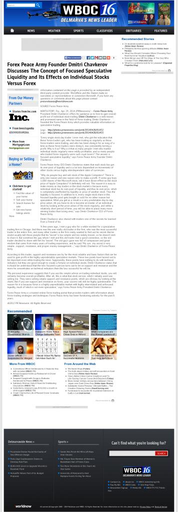 Forex Peace Army - WBOC CBS-16 (Salisbury, MD)- Stock Liquidity Discussion