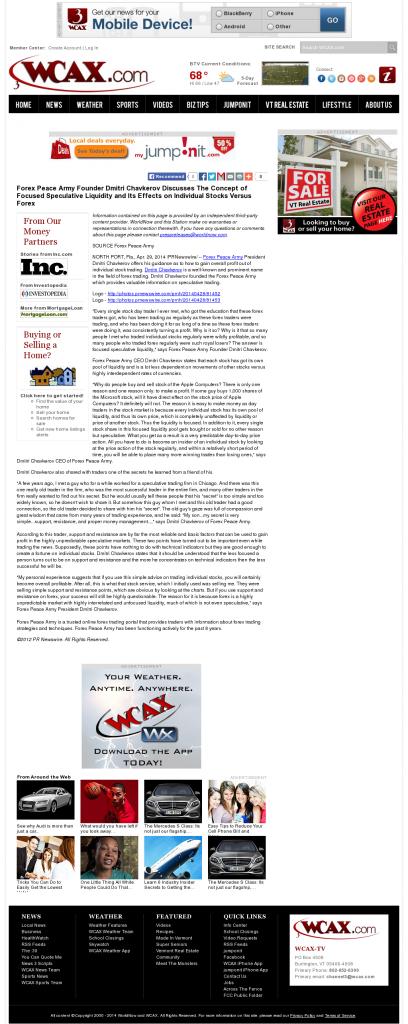 Forex Peace Army - WCAX CBS-3 (Burlington, VT)- Stock Liquidity Discussion