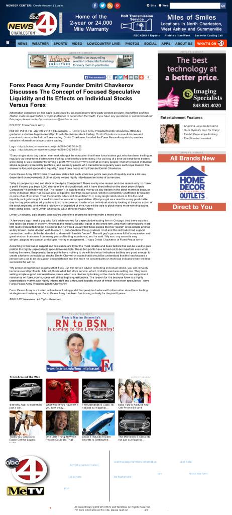 Forex Peace Army - WCIV-TV ABC-4 (Charleston, SC)- Stock Liquidity Discussion