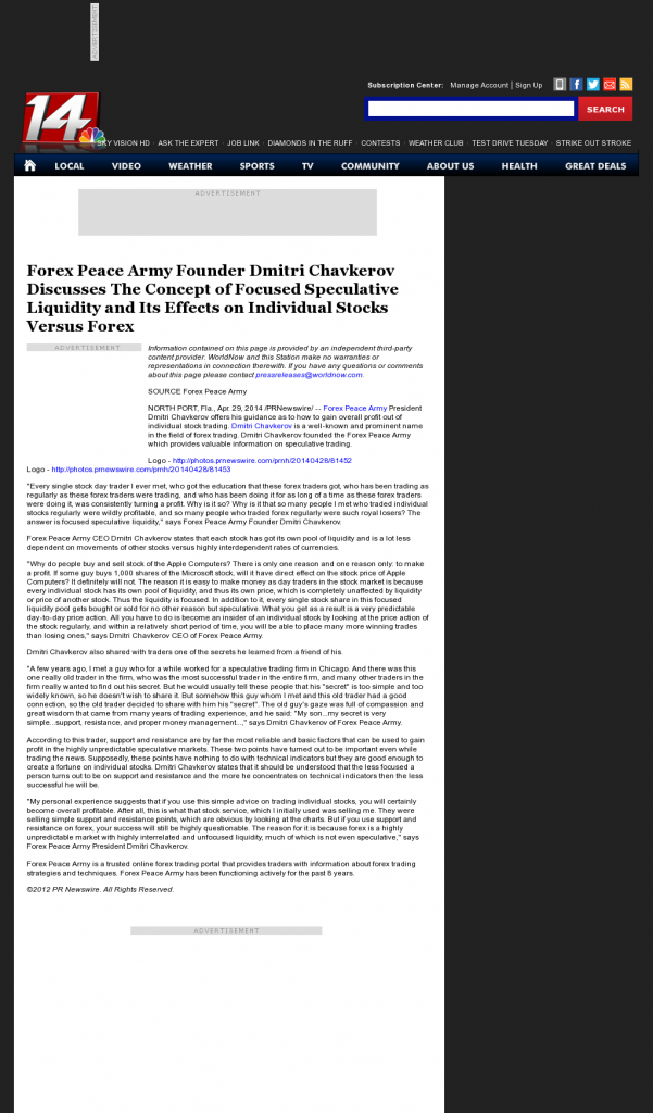 Forex Peace Army - WFIE NBC-14 (Evansville, IN)- Stock Liquidity Discussion