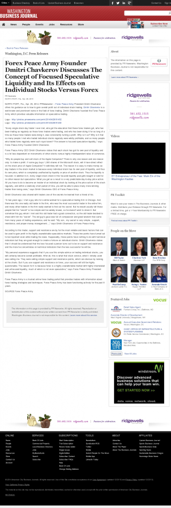 Forex Peace Army - Washington Business Journal- Stock Liquidity Discussion