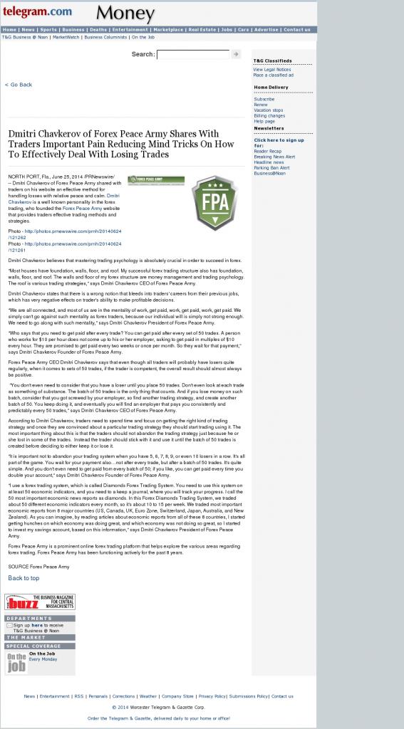 Dmitri Chavkerov - Worcester Telegram & Gazette- Effectively Dealing With Losing Trades Discussion